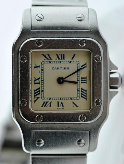 Authentic Cartier Santos Stainless Steel Quartz Women's Wristwatch