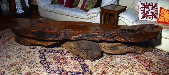 Vintage Modernist Live Edge Old Growth Redwood Burl Table, From California