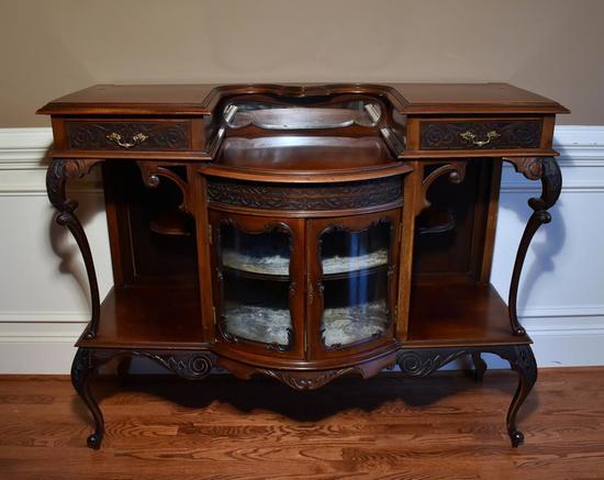 Antique Aesthetic Bowfront Mahogany Curio Cabinet