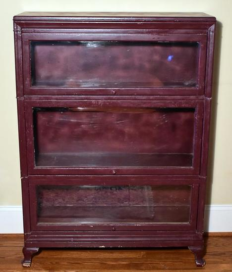 Antique Three Section Barrister Bookcase