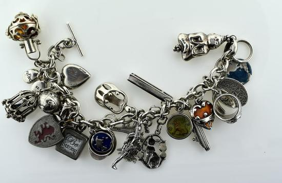 Heavy Sterling Silver Charm Bracelet with 23 Charms, 7""