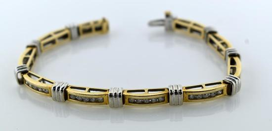 2 Ct. Diamond and 14K Yellow/White Gold Bracelet, 7""