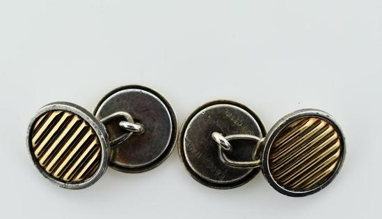 Pair of Tiffany & Co Sterling Silver & Gold Cufflinks