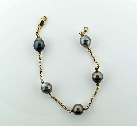 "10K Yellow Gold and Tahitian Black Pearl Bracelet, 8"""