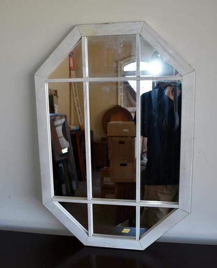 White Wood Frame Paneled Mirror