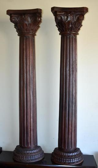 Pair of Wooden Half-Columns