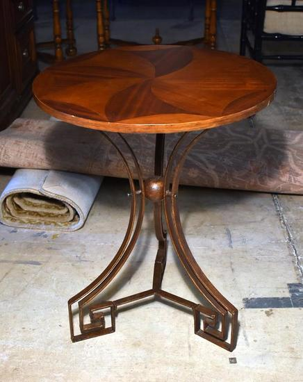 Charming Round Top Side Table with Metal Base, Pinwheel Design in Top