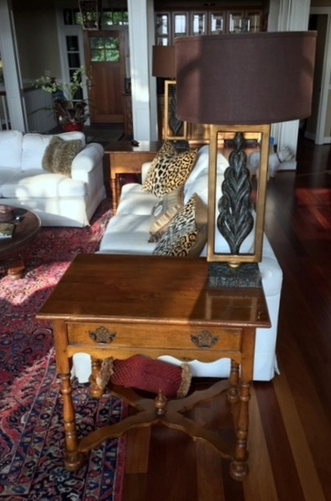 Elegant Cherry End Table with X-Form Stretcher, Drawer (Lots 12 & 13 Match)