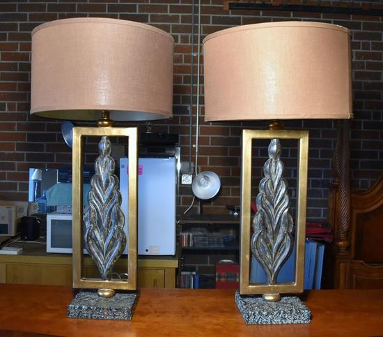 Pair of Prominent Contemporary Arcature Style Sideboard Lamps, Flame Design