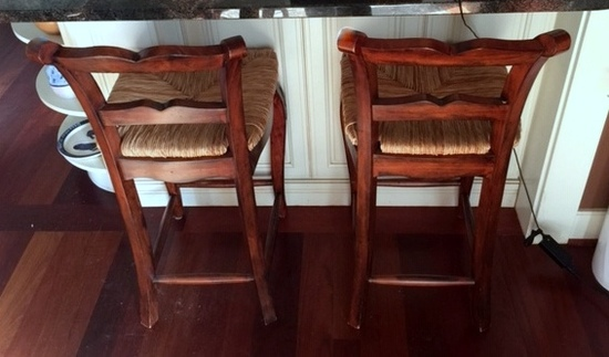Fine Carved Ladder Back Rush Seat Bar Stool (One) (Lots 22 & 23 Match)