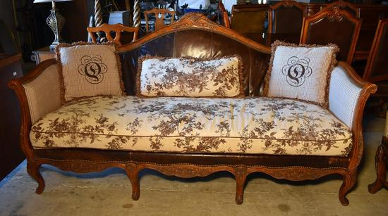 Handsome Carved Walnut & Leather Sofa with Three Pillows (Lots 3-5 Have Matching Plaid Upholstery)