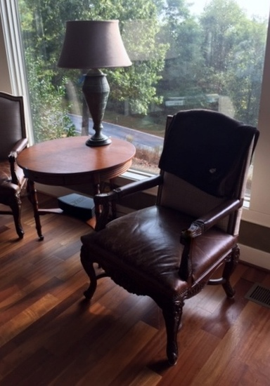 Attractive Carved Oak & Leather Armchair, Nailhead Trim (Lots 3-5 Have Matching Plaid Upholstery)