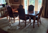Set of 6 Beautiful Hooker Furniture Cherry Dining Chairs, Leather & Nailhead Trim
