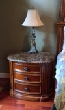 Hooker Furniture Stone Top Cherry Nightstand with Three Drawers (Lots 26 & 27 Match)