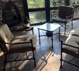 Wrought Metal Glass Top Center Table