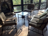 Wrought Metal Patio Armchair with Sunbrella Upholstery