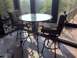 Wrought Metal Glass Top Bar Height Round Dining Table w/ 2 Metal Swivel Chairs, Sunbrella Upholstey