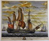 """Fine Colored Etching / Engraving """"An Exact View of the Glorioso"""" after R. Short"""