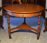 Round Top Game Table with Bamboo Style Legs & Caster Feet