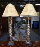 Pair of Elegant Contemporary Acanthus Column Table Lamps