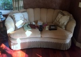 Plush Hickory White Love Seat with Bullion Fringe