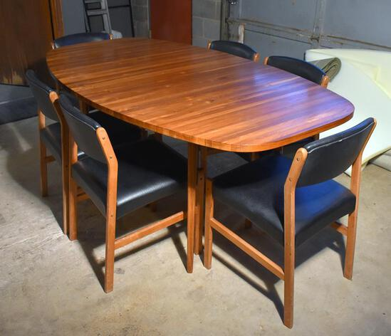 Beautiful Vintage Mid-Century Modern Dining Table w/ Two Extension Leaves