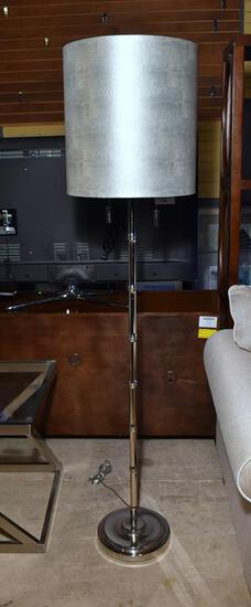 Contemporary Floor Lamp Chrome Metal Bamboo Design, Neutral Shade