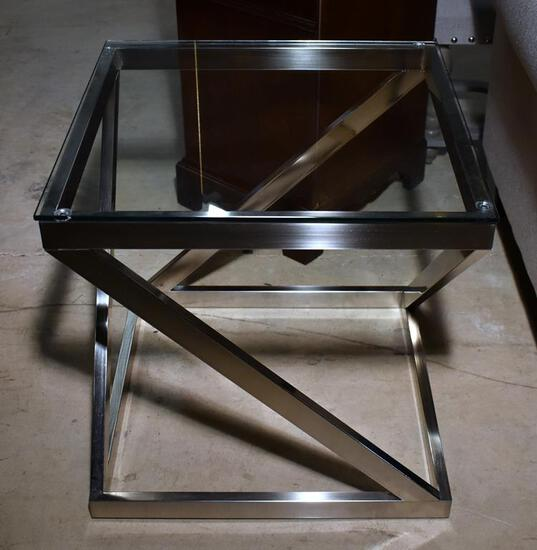 Attractive Modern Design Brushed Chrome & Glass End / Side Table, Lots 10-12 Design Match