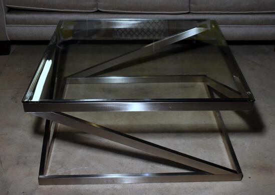 Attractive Modern Design Brushed Chrome & Glass Coffee / Cocktail Table, Lots 10-12 Design Match