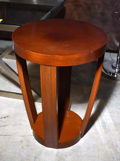 Contemporary Drum Design Wooden Occasional Table