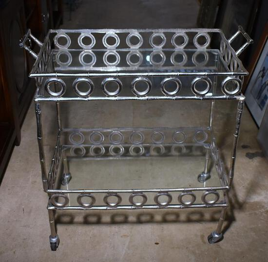 Striking Contemporary Metal & Glass Bar Cart