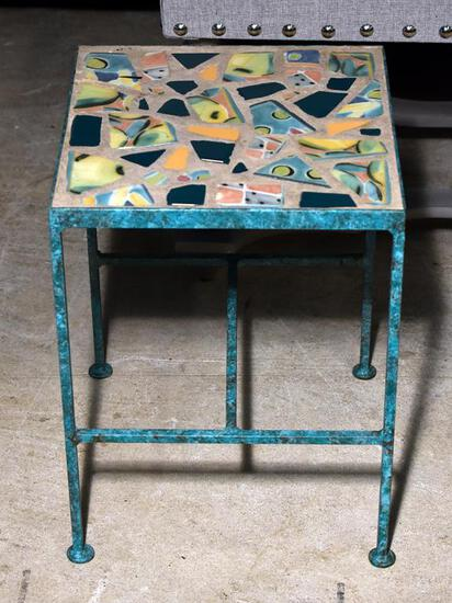 Colorful Vintage Metal And Ceramic Art Plant Stand