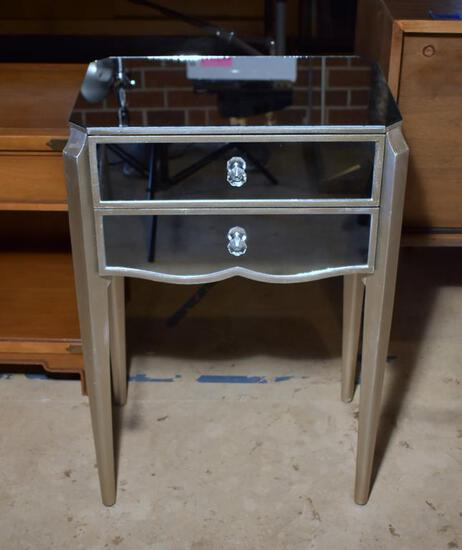 Bright Contemporary Modern Mirrored Side Table with Two Drawers