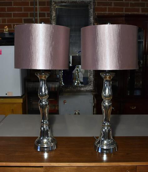 Pair of Contemporary Chrome Finish Table Lamps with Metallic Finish Shades