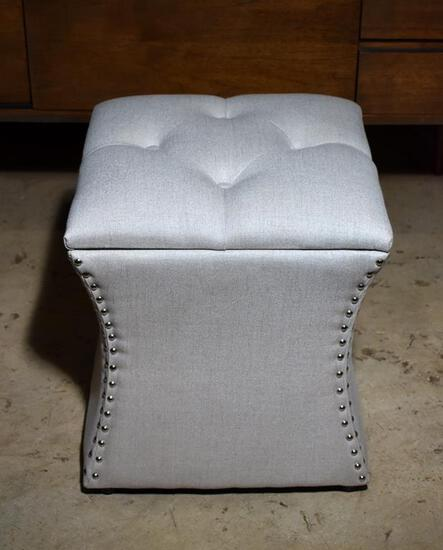 Stylish Contemporary Neutral Upholstered Storage Stool with Nailhead Trim