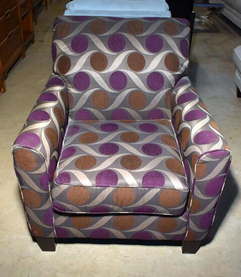 Handsome Contemporary Ashley Furniture Pewter, Bronze & Purple Upholstered Armchair