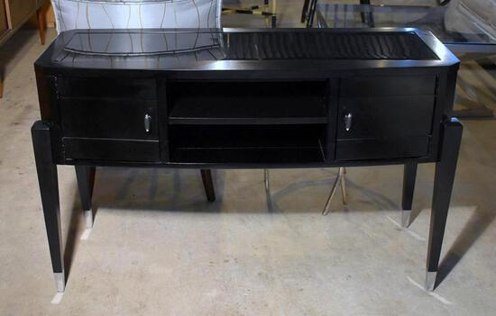 Contemporary Broyhill Furniture Black Wood & Glass Console Table w/ 2 Doors, Storage