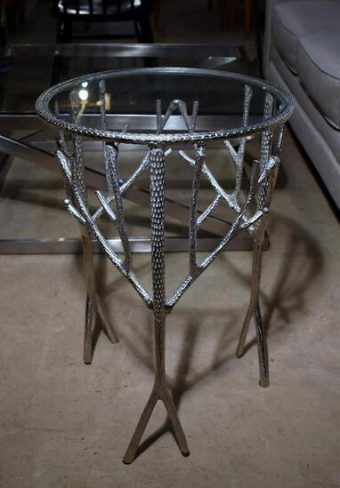 Charming Contemporary Metal & Glass Round Side Table, Branches Design
