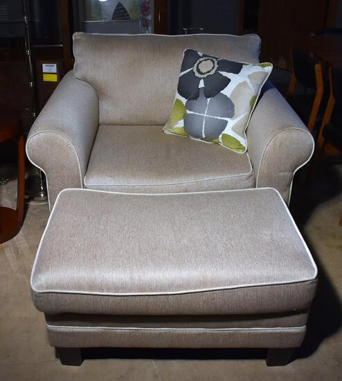 Plush Contemporary Neutral Oversized Armchair w/ Ottoman & Throw Pillow, Lots 7 & 8 Match