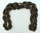 "Gorgeous 34"" L Copper Tone Multi-Strand Bead Necklace"