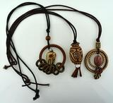 "Lot of Three Ethnic / Tribal Style 24"" L Necklaces"
