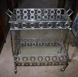 Striking Contemporary Metal & Glass Bar Cart