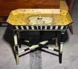 Charming Handpainted Tray Table with Folding Legs Base, Dog & Insects Design