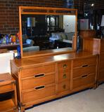 "Vintage Drexel ""Compass"" Mid-Century Modern Dresser with Nine Drawers, Mirror, Lots 31-34 match"