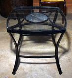 Fine Contemporary Black Metal, Glass & Ceramic Tile Nightstand / Side Table, Lots 43 & 44 Match