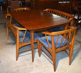 Vintage Mid-Century Modern Mahogany Dining Table with One Extension Leaf