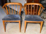Pair of Vintage Mid-Century Modern Dining Chairs w/ Light Blue Plush Upholstery, Lots 63-65 Match