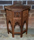 Vintage Carved Teak Inlaid Corner Table, Made in India