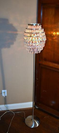 Floor Lamp, Fancy Prism Shade, Brushed Chrome Stand