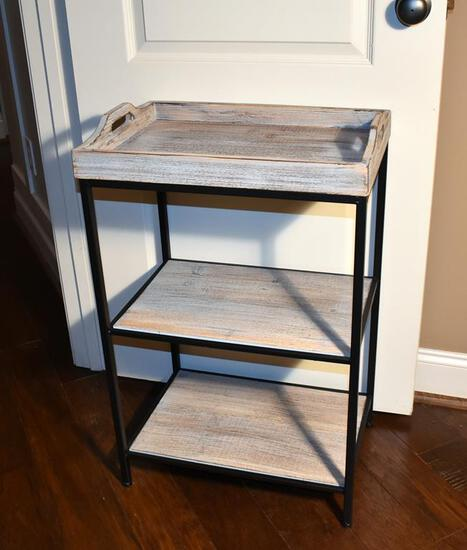 Contemporary Wood & Metal Tray Shelf Stand